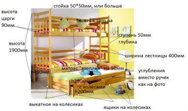 двухъярусная кровать из дерева Kubus